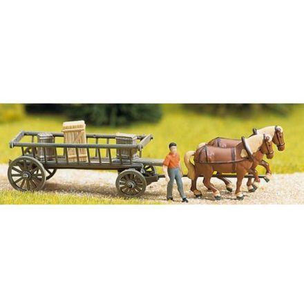 Miniscen häst med låg vagn