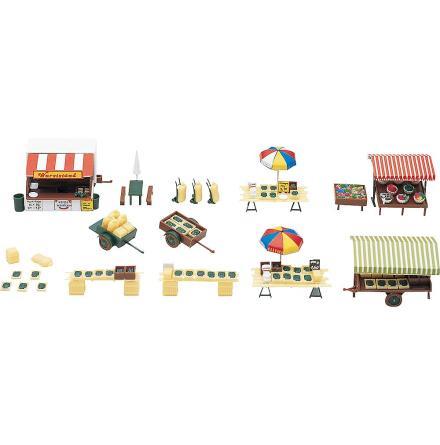 180582 Marknadsstånd och vagnar